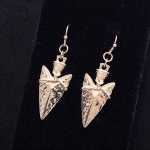 Gold tone Arrowhead drop earrings
